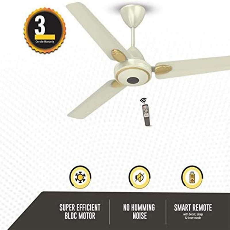Atomberg Efficio+ 3 Blade Ceiling Fan With Remote Control and BLDC Motor, 1200mm- Pearl Ivory
