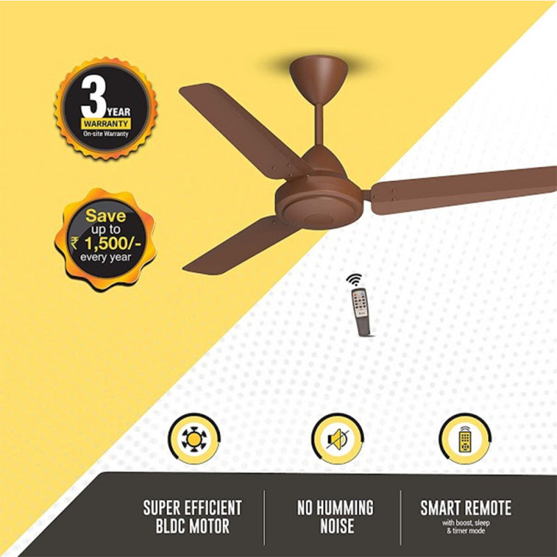 Atomberg Efficio 3 Blade Ceiling Fan With Remote Control and BLDC Motor, 1050mm- Brown
