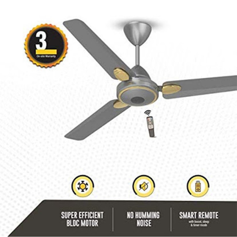 Atomberg Efficio+ 3 Blade Ceiling Fan With Remote Control and BLDC Motor, 1200mm- Sand Grey