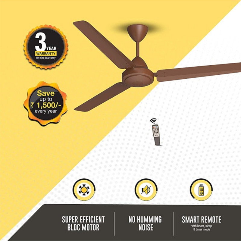 Atomberg Efficio 3 Blade Ceiling Fan With Remote Control and BLDC Motor, 1400mm- Brown