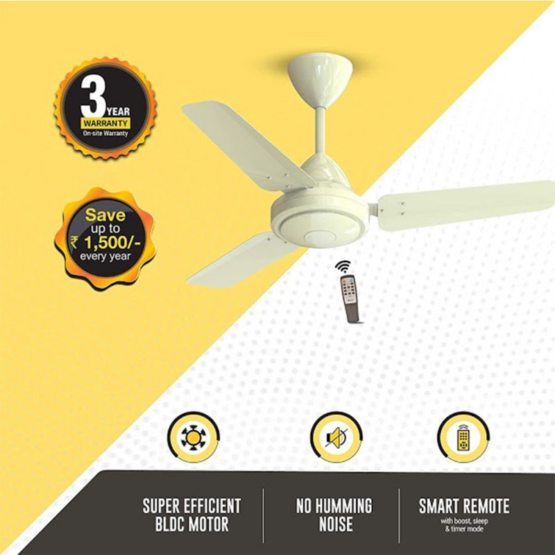 Atomberg Efficio 3 Blade Ceiling Fan With Remote Control and BLDC Motor, 900mm- Ivory