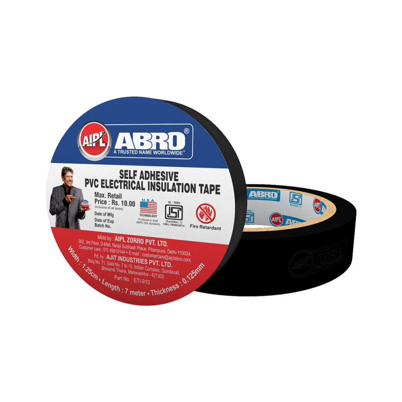 Abro Pvc Electrical Insulation Black Tape  - (18 mm x 7 meter) (Pack of 20)