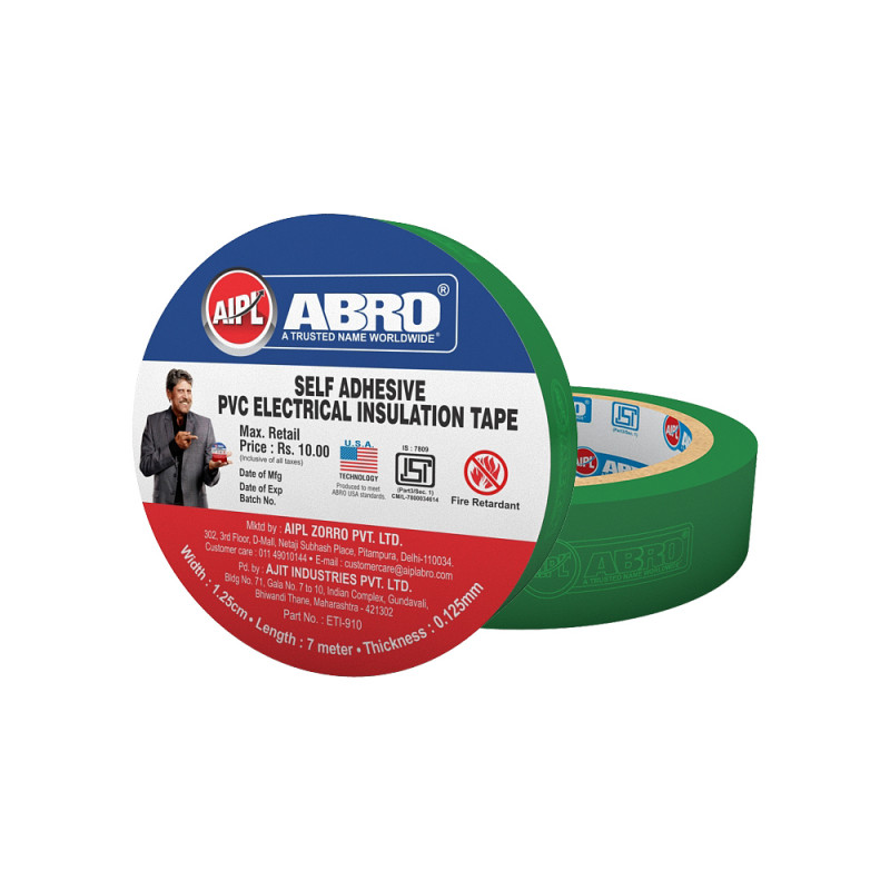 Abro Pvc Electrical Insulation Green Tape - (18 mm x 7 meter) (Pack of 20)