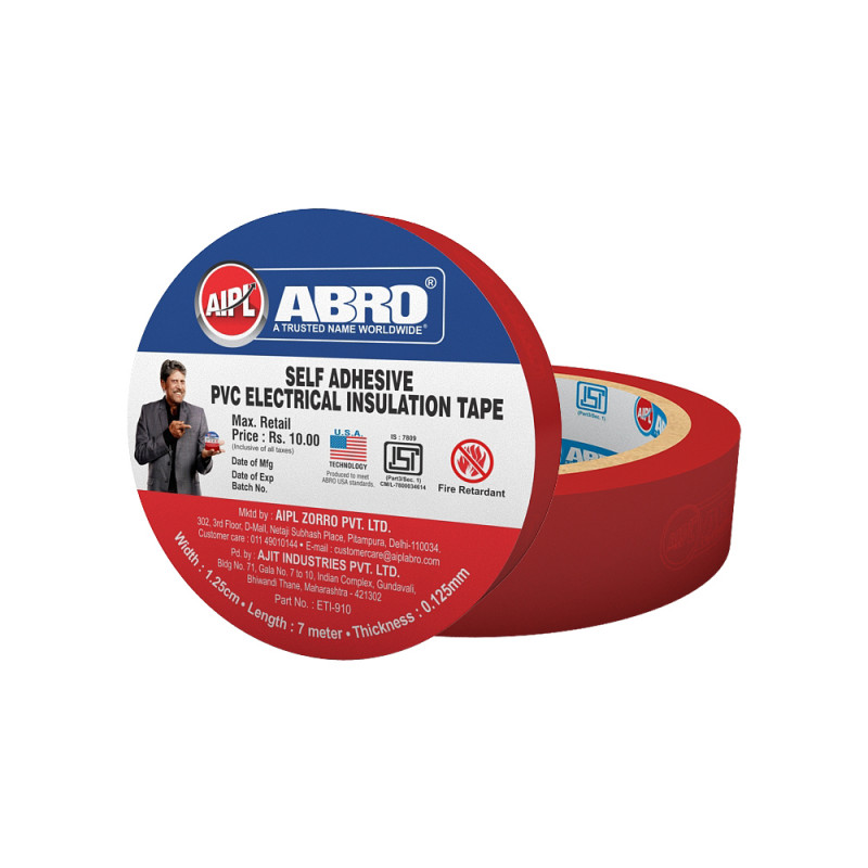 Abro Pvc Electrical Insulation Red Tape - (18 mm x 7 meter) (Pack of 20)