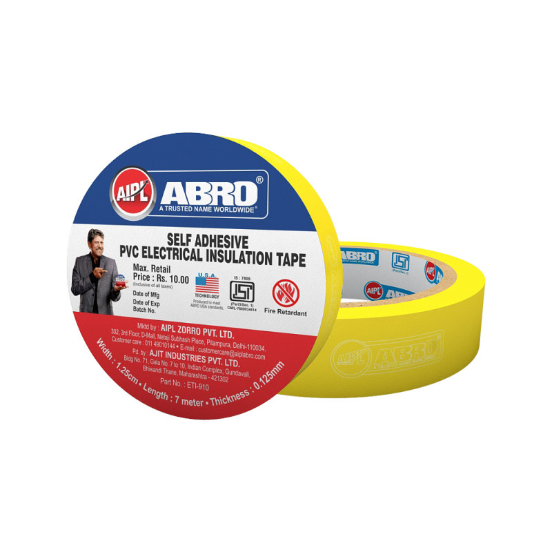 Abro Pvc Electrical Insulation Yellow Tape - (18 mm x 7 meter) (Pack of 20)