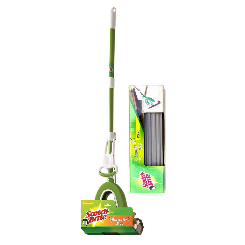 3M Scotch Brite Butterfly Plastic Mop Wiper and Refill Combo