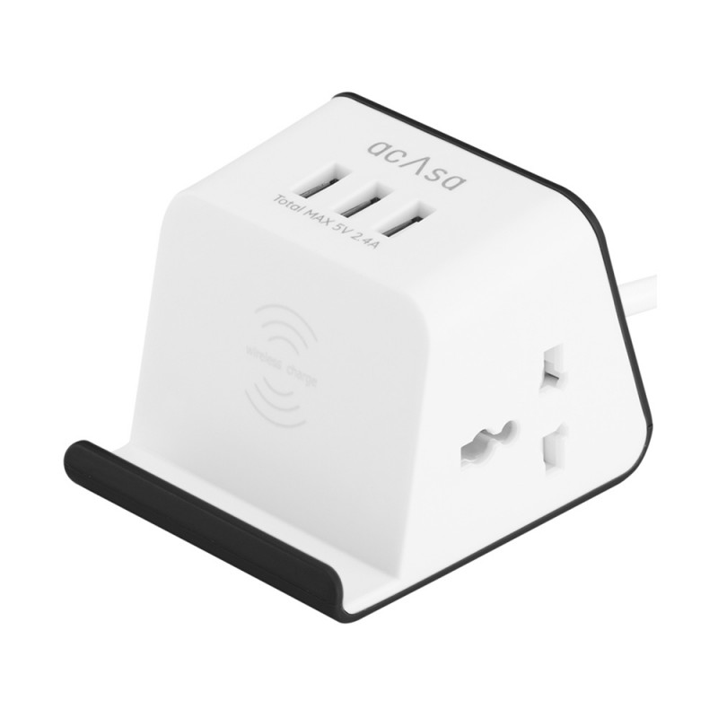 Acasa 3-in-1 Power Cord Flagship Pro with Wireless Charging, 3 USB Hubs & 2 Plug Points with Surge-Protection (Black/White)