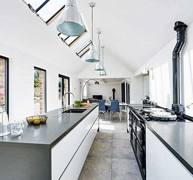 Open kitchen plan with diner extension