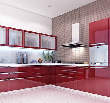 Modular Kitchen Designs with Red and White Color Combination