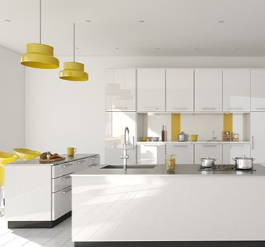 Island Modular Kitchen with soft shades for elegant appeal