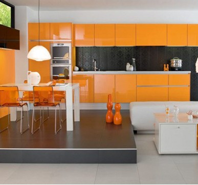 Modular Kitchen Design with orange shades for a stylish look