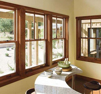 wooden window design with glass