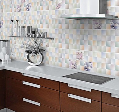 Glassy Kitchen Wall Tiles Design