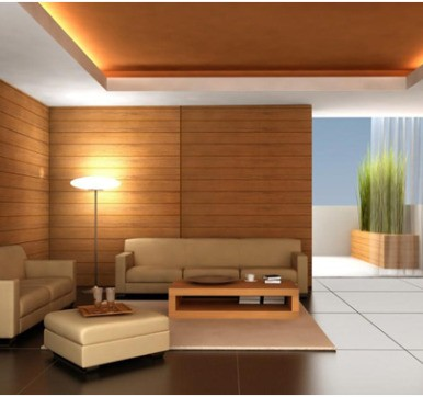 Living Room Wooden Cladding Design