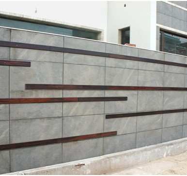 wooden and metal accents wall cladding