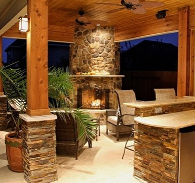 Outdoor Kitchen Design With Amazing Lighting
