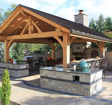 Outdoor Kitchen With Seating Arrangement