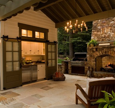 Outdoor Kitchen design with Sheltered Lounge Area