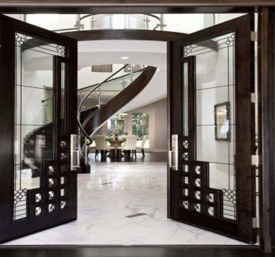 Delicate glass main door designs for home