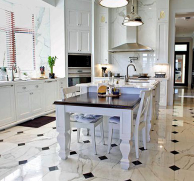 Textured Marble Tiles for Kitchen Floors